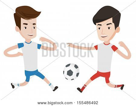 Soccer players in action during a champions league match. Two male soccer players fighting over control of ball during a football match. Vector flat design illustration isolated on white background.