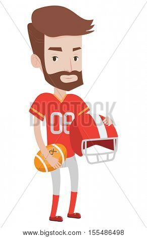 A hipster rugby player with the beard holding rugby ball and helmet in hands. Young caucasian male rugby player in uniform. Vector flat design illustration isolated on white background.