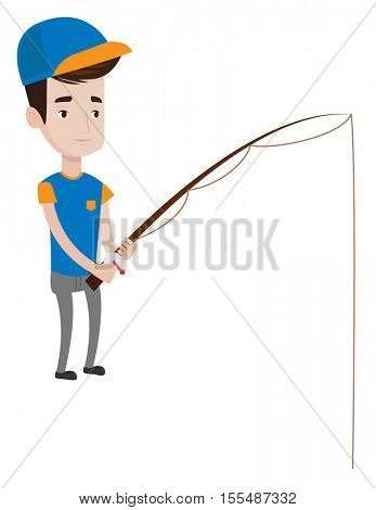 Cheerful fisherman fishing fishing rod. Young caucasian fisherman relaxing during fishing. Fisherman standing with fishing rod in hands. Vector flat design illustration isolated on white background.
