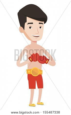 Young confident sportsman in boxing gloves. Illustration of full length of professional male boxer. Sportive man wearing red boxing gloves. Vector flat design illustration isolated on white background