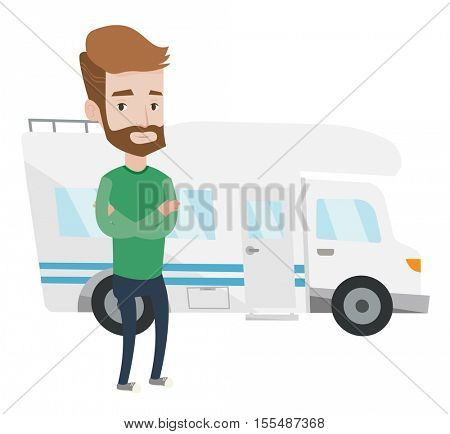Hipster man with the beard standing in front of motor home. Young caucasian man with arms crossed enjoying his vacation in motor home. Vector flat design illustration isolated on white background.