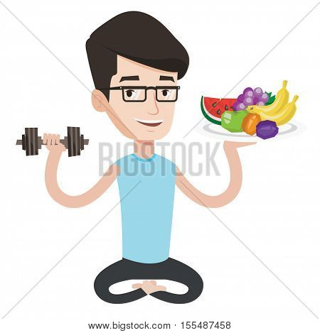 Healthy sportsman with fruits and dumbbell. Healthy caucasian man holding fruits and dumbbell. Healthy man choosing healthy lifestyle. Vector flat design illustration isolated on white background.