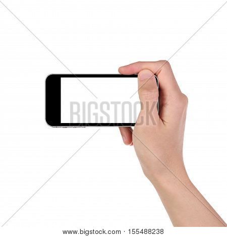 Man hand holding the black smartphone isorated on white background. Clipping path.