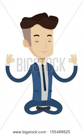 Businessman with eyes closed meditating in yoga lotus position. Businessman relaxing in the yoga lotus position. Businessman doing yoga. Vector flat design illustration isolated on white background.