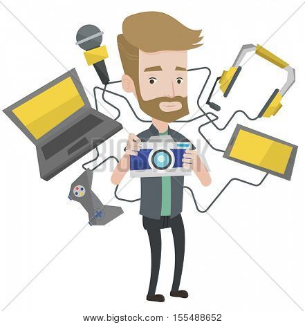 Young hipster man with the beard surrounded with gadgets. Caucasian man using many electronic gadgets. Man addicted to modern gadgets. Vector flat design illustration isolated on white background.