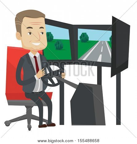 Excited man in a suit playing video game with gaming wheel. Gamer driving autosimulator in game room. Man playing car racing video game. Vector flat design illustration isolated on white background.