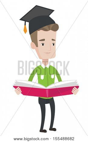 Graduate standing with a big open book in hands. Graduate in graduation cap reading a book. Graduate holding a book. Concept of education. Vector flat design illustration isolated on white background.