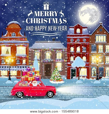 happy new year and merry Christmas winter old town street with christmas tree and Santa Claus drivinng on a car. concept for greeting and postal card, invitation, template,