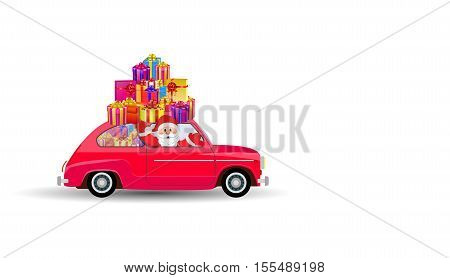 Santa Claus on car with giftbox Isolated on White Background. vector illustration