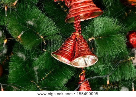 Christmas Tree Decoration with toys new year, red bells