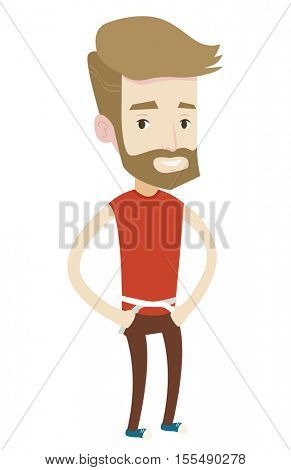 Caucasian man measuring his waistline with a tape. Hipster man measuring with tape a waistline. Happy man with centimeter on a waistline. Vector flat design illustration isolated on white background.