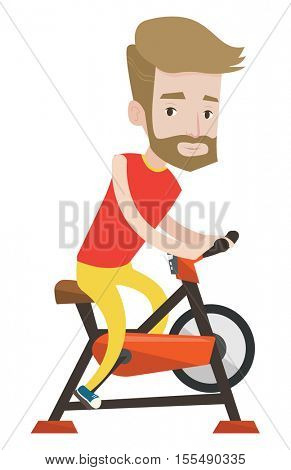 Caucasian hipster man riding stationary bicycle. Sporty man exercising on stationary training bicycle. Man training on stationary bicycle. Vector flat design illustration isolated on white background.