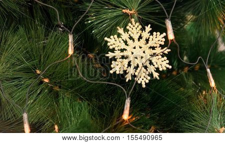 Christmas Tree Decoration with toys new year, snowflake and lights