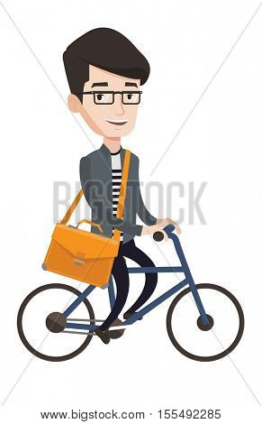 Young caucasian businessman riding a bicycle. Cyclist riding a bicycle. Businessman with briefcase on a bicycle. Healthy lifestyle concept. Vector flat design illustration isolated on white background