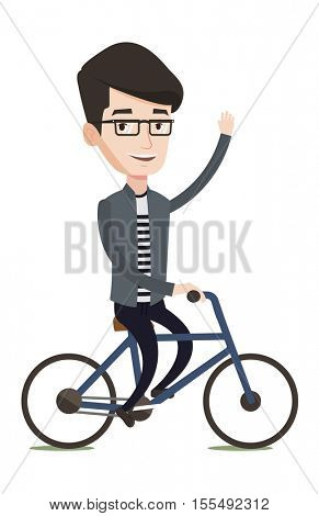 Sportive caucasian man riding a bicycle. Cyclist riding bike and waving his hand. Cheerful man on a bicycle. Healthy lifestyle concept. Vector flat design illustration isolated on white background.