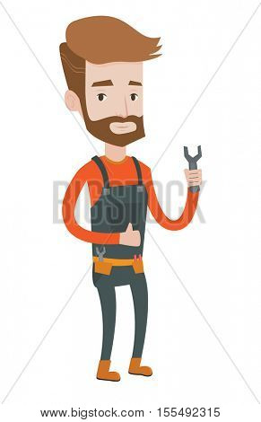 Young repairman standing with a spanner in hand. Confident hipster repairman with the beard giving thumb up. Repairman holding a spanner. Vector flat design illustration isolated on white background.