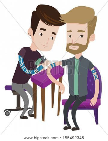 Master tattoo artist makes tattoo on the hand of a man with the beard. Tattooist makes a tattoo. Professional tattoo artist at work. Vector flat design illustration isolated on white background.