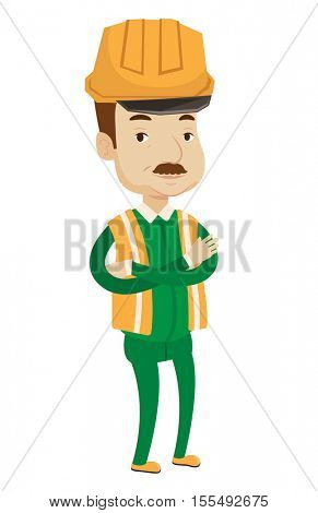 An oil worker in uniform and helmet. Cnfident oil worker standing with crossed arms. Illustration of full length of caucasian oil worker. Vector flat design illustration isolated on white background.
