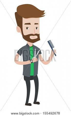 Full length of young caucasian hipster barber with beard holding comb and scissors in hands. Professional barber ready to do a haircut. Vector flat design illustration isolated on white background.