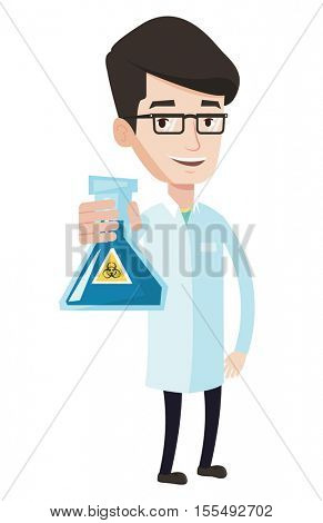 Scientist holding a flask with biohazard sign. Young smiling scientist in medical gown. Scientist showing a flask with some liquid in it. Vector flat design illustration isolated on white background.