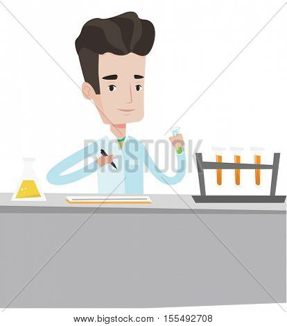 Laboratory assistant working with a test tubes. Laboratory assistant taking some notes. Laboratory assistant analyzing liquid in test tube. Vector flat design illustration isolated on white background