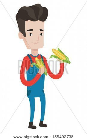 A happy farmer holding a corn cob. Smiling caucasian farmer collecting corn. Farmer standing a corn cob in hands. Vector flat design illustration isolated on white background.