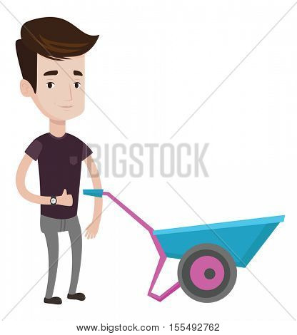 Young smiling man pushing wheelbarrow. Caucasian happy gardener with wheelbarrow. Man giving thumb up while standing near wheelbarrow. Vector flat design illustration isolated on white background.