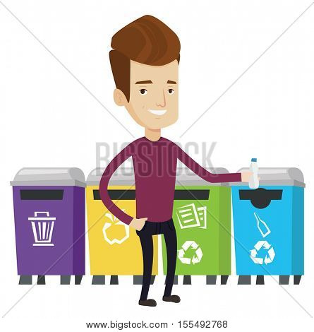 Man throwing away plastic bottle. Man standing near four bins and throwing away plastic bottle in appropriate bin. Waste sorting plastic. Vector flat design illustration isolated on white background.