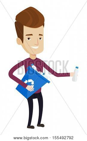 Joyful man with recycling bin in hand picking up used plastic bottles. Man collecting garbage in recycle bin. Waste recycling concept. Vector flat design illustration isolated on white background.