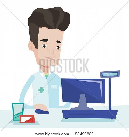 Caucasian pharmacist standing at the pharmacy counter. Male pharmacist in the drugstore. Young male pharmacist working on a computer. Vector flat design illustration isolated on white background.