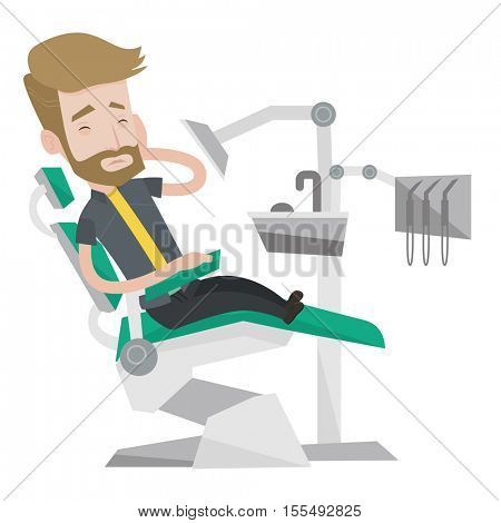 Young caucasian patient visiting dentist because of toothache. Sad man suffering from toothache. Hipster man with beard having a toothache. Vector flat design illustration isolated on white background