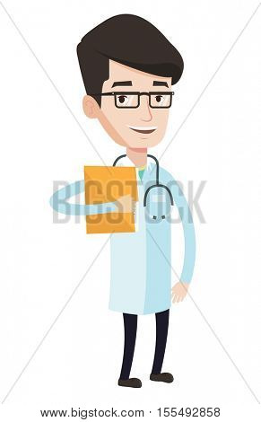Doctor with stethoscope and folder. Doctor carrying folder of patient information. Caucasian doctor holding folder with medical information.Vector flat design illustration isolated on white background