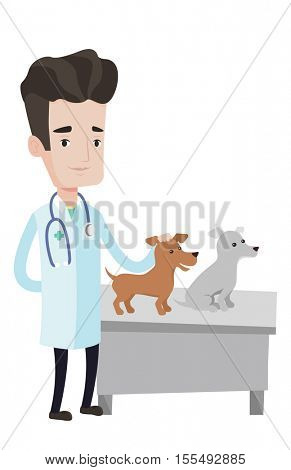 Young caucasian veterinarian with stethoscope. Veterinarian examining dogs in hospital. Male veterinarian with dogs at vet clinic. Vector flat design illustration isolated on white background.