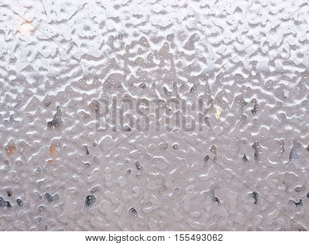 Ice And Drops On Window