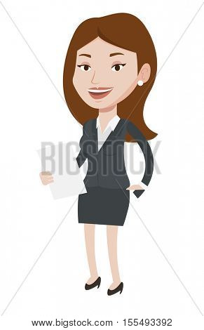 Caucasian friendly television anchorwoman at work. Young television anchorwoman with paper in hand. Smiling anchorwoman reading good news. Vector flat design illustration isolated on white background.