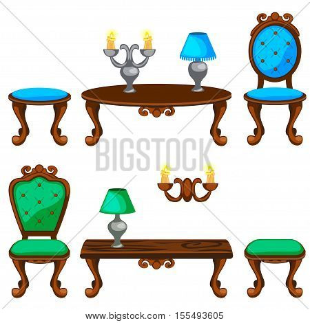 cartoon colorful Retro furniture in vector objects