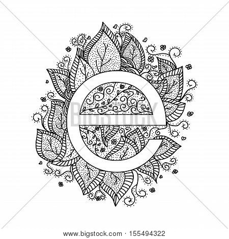 Floral letter E design elements. Easy to manipulate, re-size or colorize.