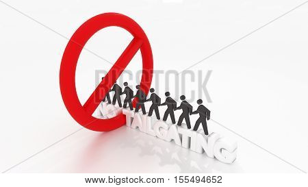 Red circular sign crossing the word no tailgating with people walking in a row inside of the symbol social engineering cybersecurity concept 3D illustration