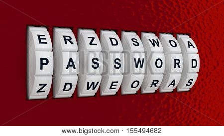 White circular lock embedded in a red wall showing the word password cybersecurity concept 3D illustration