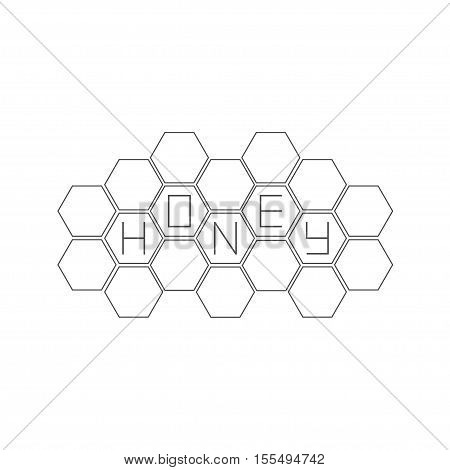 Honeycomb set. Beehive element. Honey text icon. Isolated. White background. Flat design Vector illustration