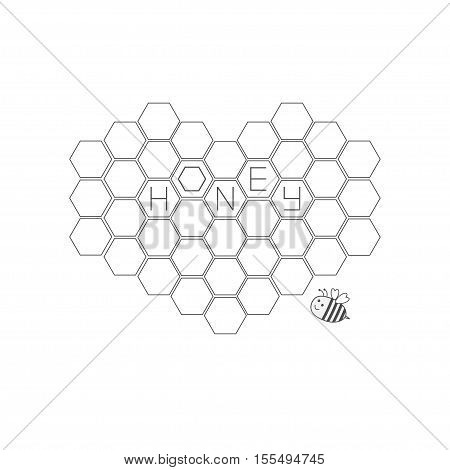 Honeycomb set in shape of heart.Bee insect animal. Beehive element. Honey text icon. Isolated. White background. Flat design. Vector illustration