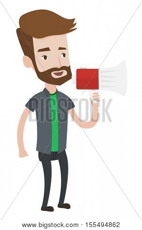 Hipster man holding megaphone. Social media marketing concept. Man promoter speaking into megaphone. Young man advertising using megaphone. Vector flat design illustration isolated on white background