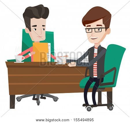 Two businessmen talking on business meeting. Businessmen drinking coffee on business meeting. Two businessmen during business meeting. Vector flat design illustration isolated on white background.