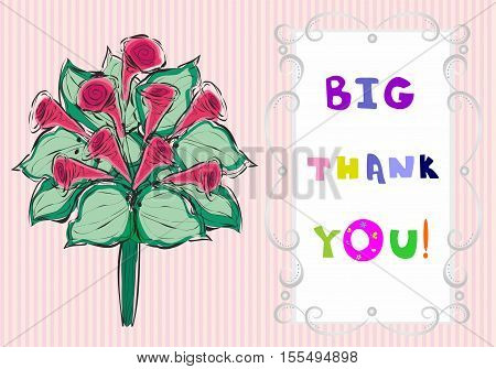 Big thank you the text and bouquet of flowers. illustration Beautiful appreciated