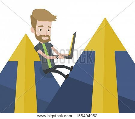 Young hipster businessman with beard working on laptop on the mountain. Businessman sitting on the top of the mountain and using laptop. Vector flat design illustration isolated on white background.
