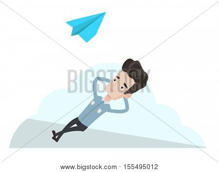 Businessman lying on a cloud and looking at flying paper plane. Caucasian businessman relaxing on a cloud. Businessman resting on a cloud. Vector flat design illustration isolated on white background.