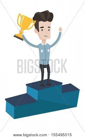 Caucasian businessman with business award standing on a pedestal. Businessman celebrating his business award. Business award concept. Vector flat design illustration isolated on white background.