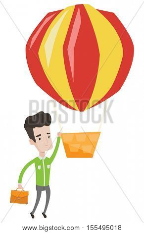 Young smiling caucasian employee flying away in a balloon. Hardworking employee hanging on a hot air balloon. Happy employee got promoted. Vector flat design illustration isolated on white background.