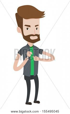 An angry hipster employer with beard pointing at wrist watch. Boss checking time of coming of latecomer employee. Concept of late to work. Vector flat design illustration isolated on white background.
