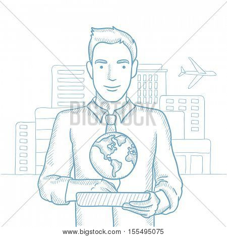 Man holding tablet computer with model of planet earth above the device on a city background. International technology communication concept. Hand drawn vector sketch illustration on white background.